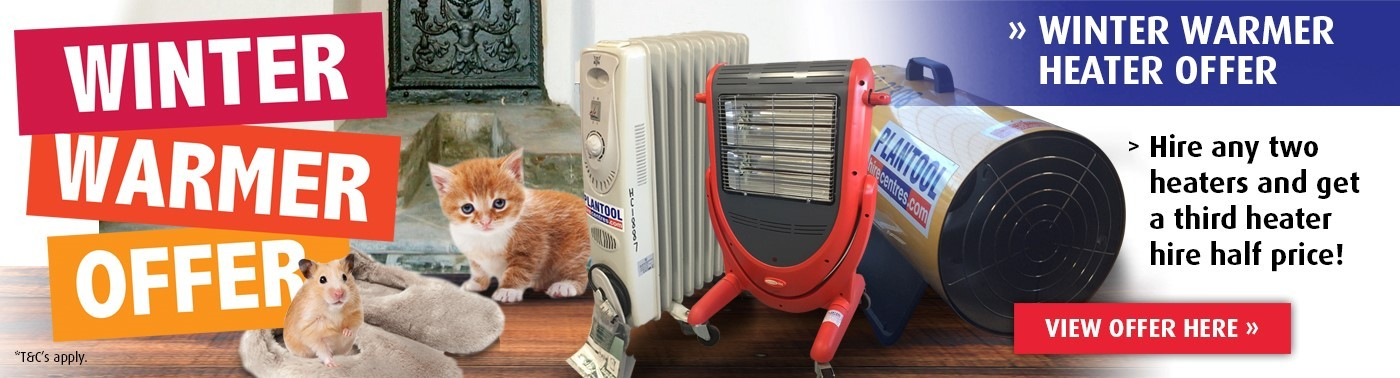 Hire any two heaters and get a third heater hire half price at Plantool Hire Centres